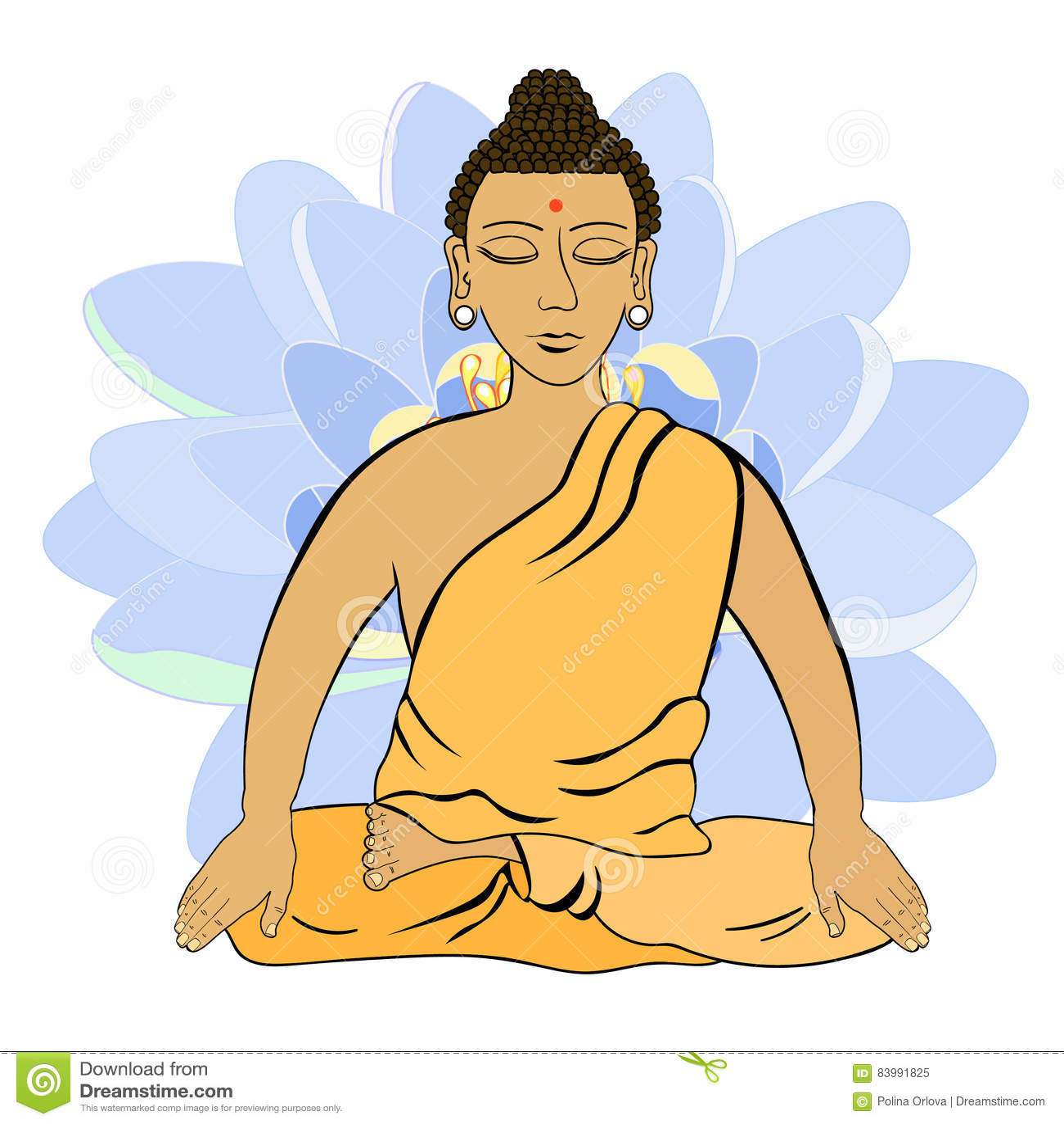 Buddha Sitting In The Lotus Indian Meditation Closed Eyes Stock