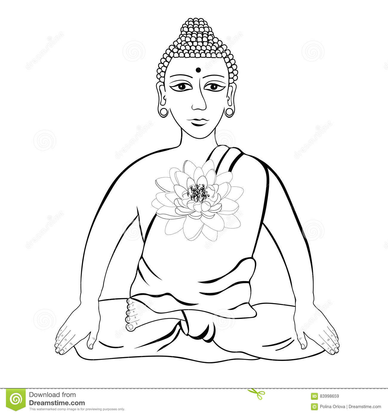 Buddha Sitting In The Lotus Indian Meditation Open Eyes Stock Vector