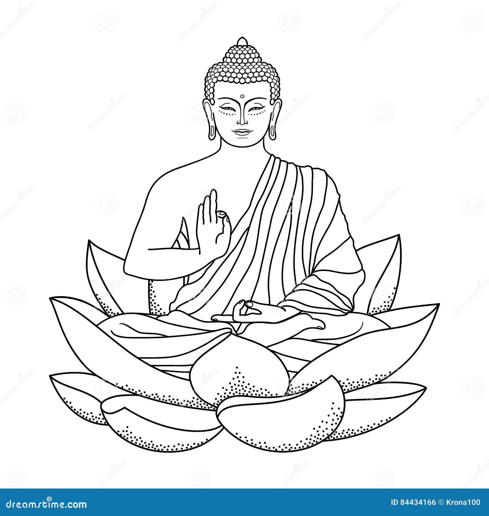 Buddha sitting on Lotus stock vector. Illustration of ethnic - 84434166