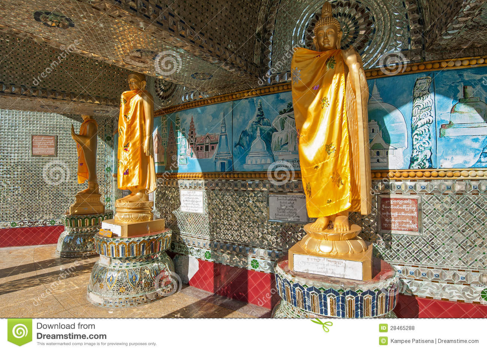 Buddha Statue Around Kaba Aye Pagoda In Rangoon, Myanmar