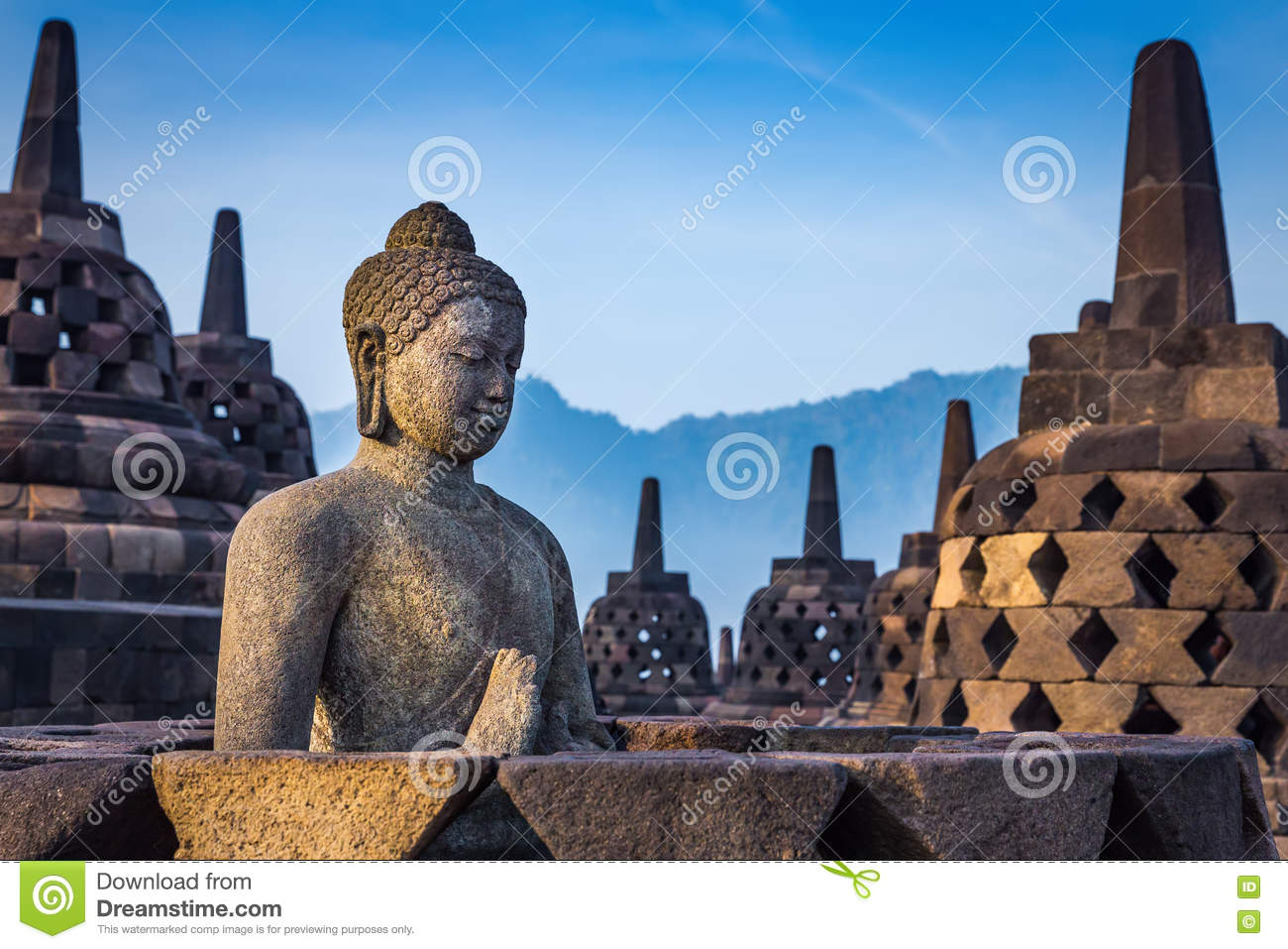 Buddha statue in Borobudur Temple, Indonesia.