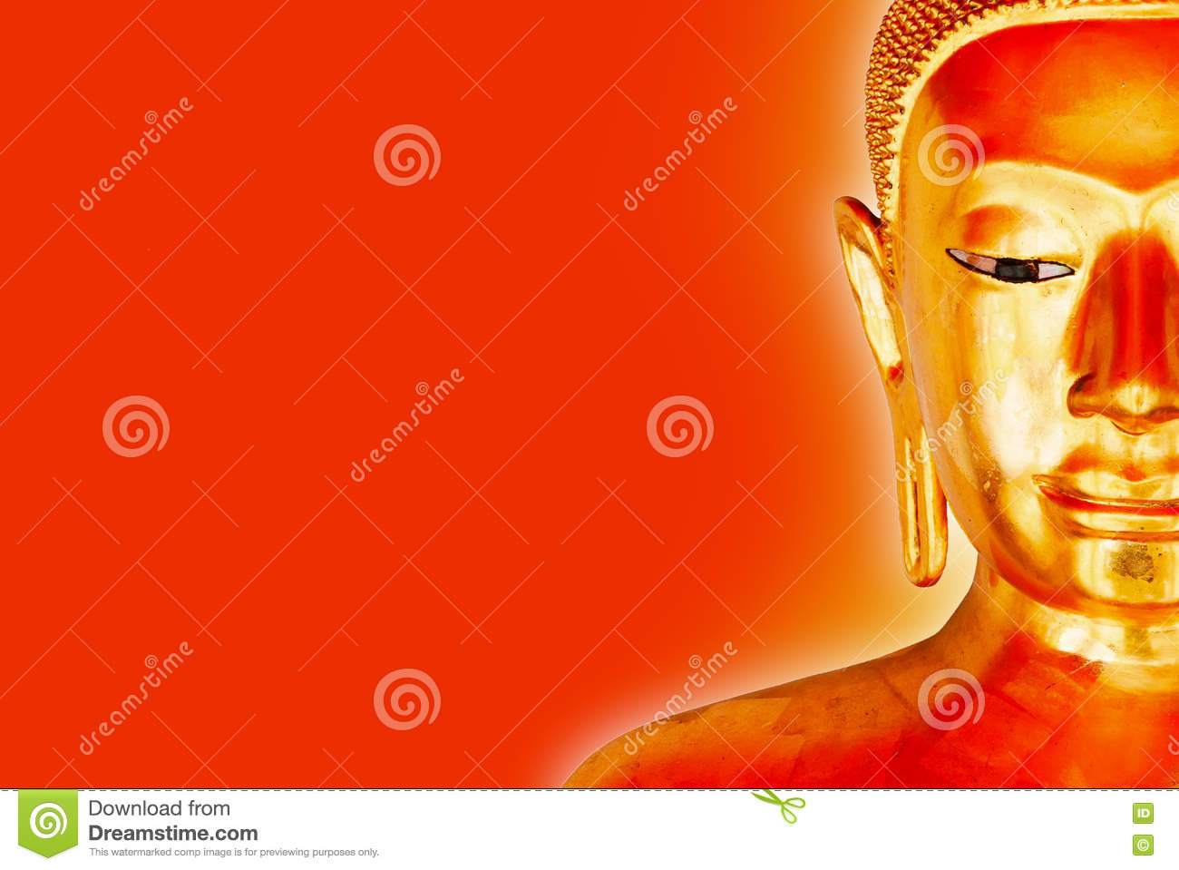 Buddha Statue Isolated with yellow aura on a red Background.