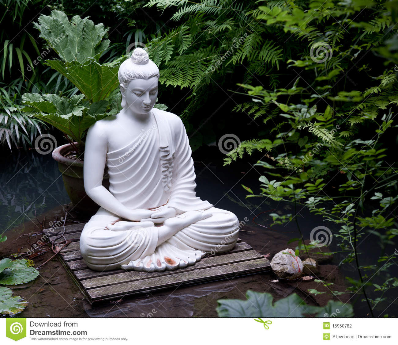 buddha statue in pond stock photo image of serenity. Black Bedroom Furniture Sets. Home Design Ideas