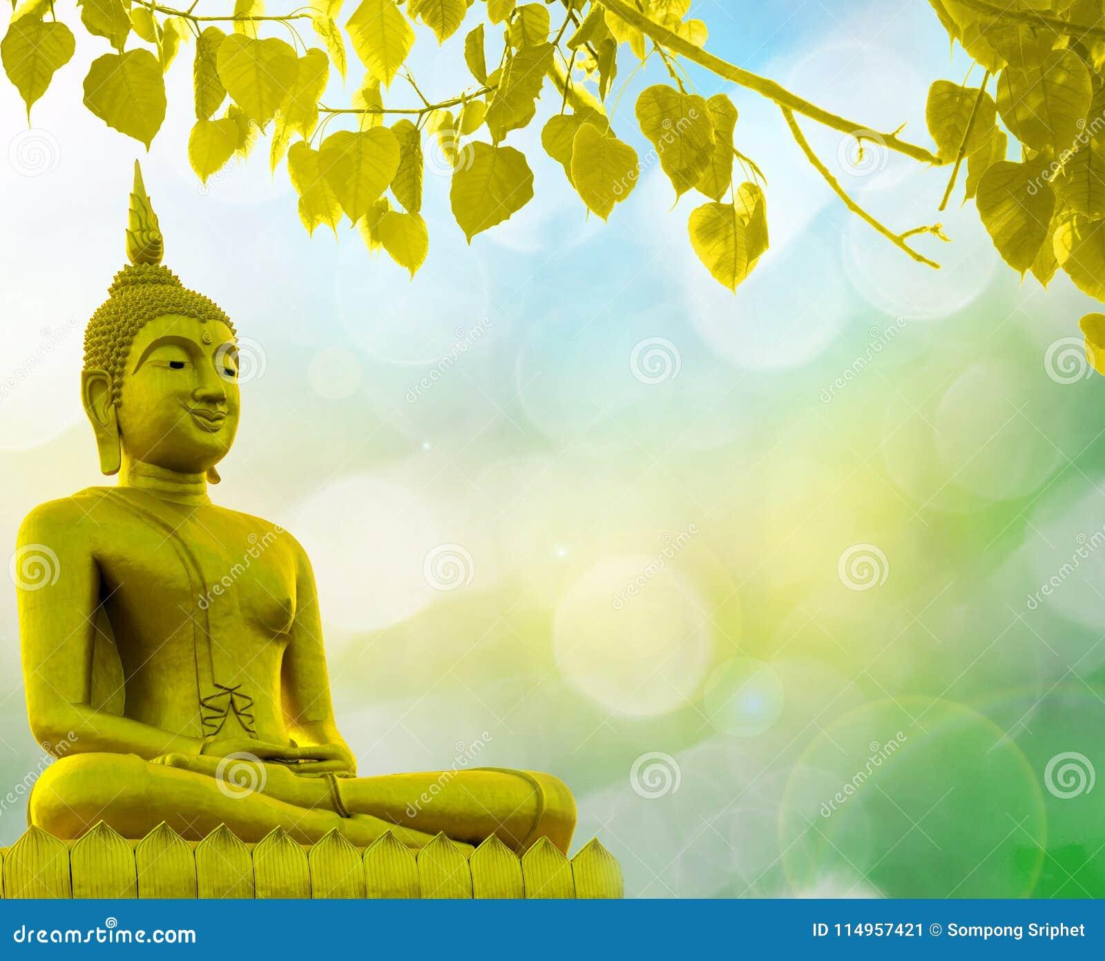 Buddha statue priest religion golden background