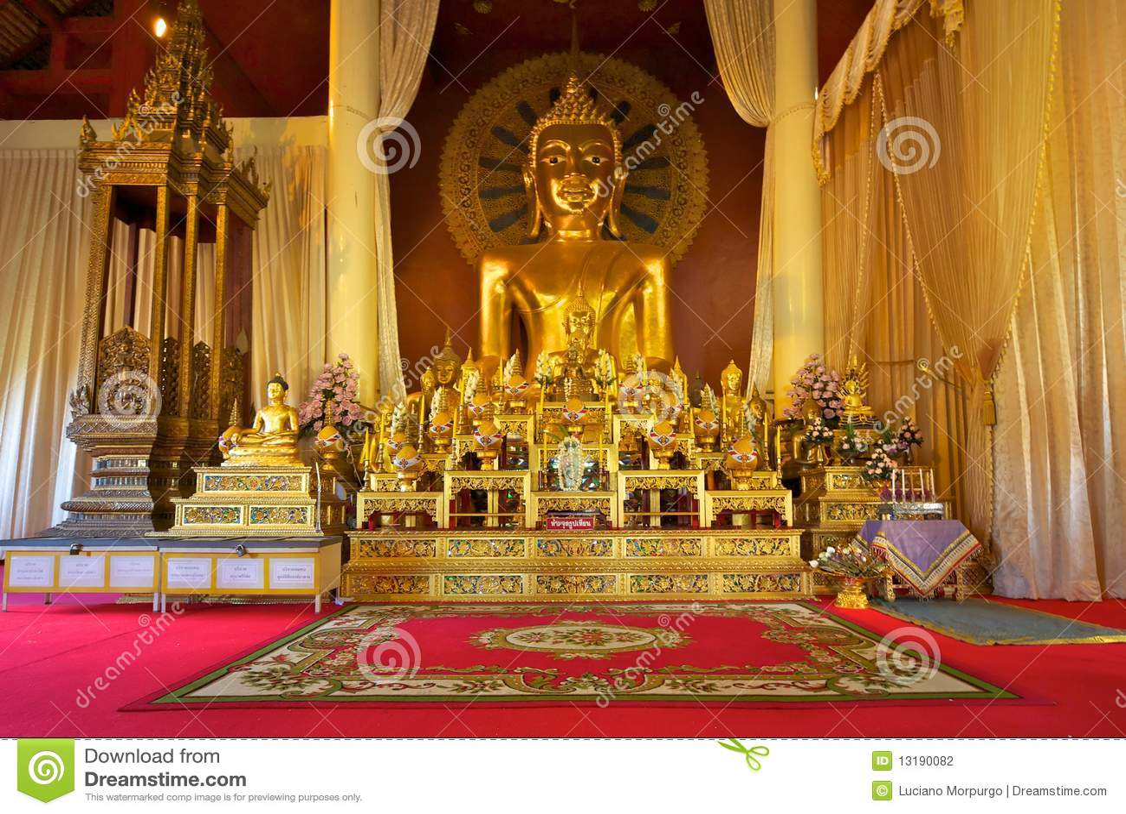 Buddha Statue In Wat Phra Singh Temple, Chiang Mai Stock ...