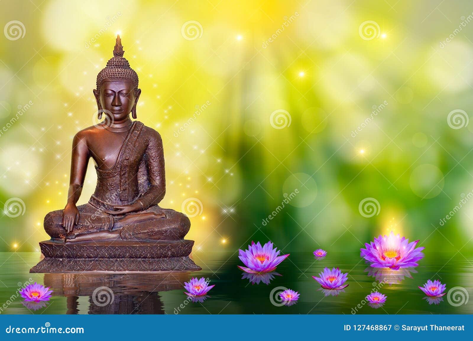 Buddha Statue Water Lotus Buddha Standing On Lotus Flower On Orange