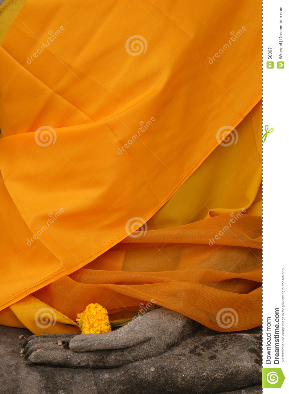 Buddha Statue Wrapped in Orange Fabric