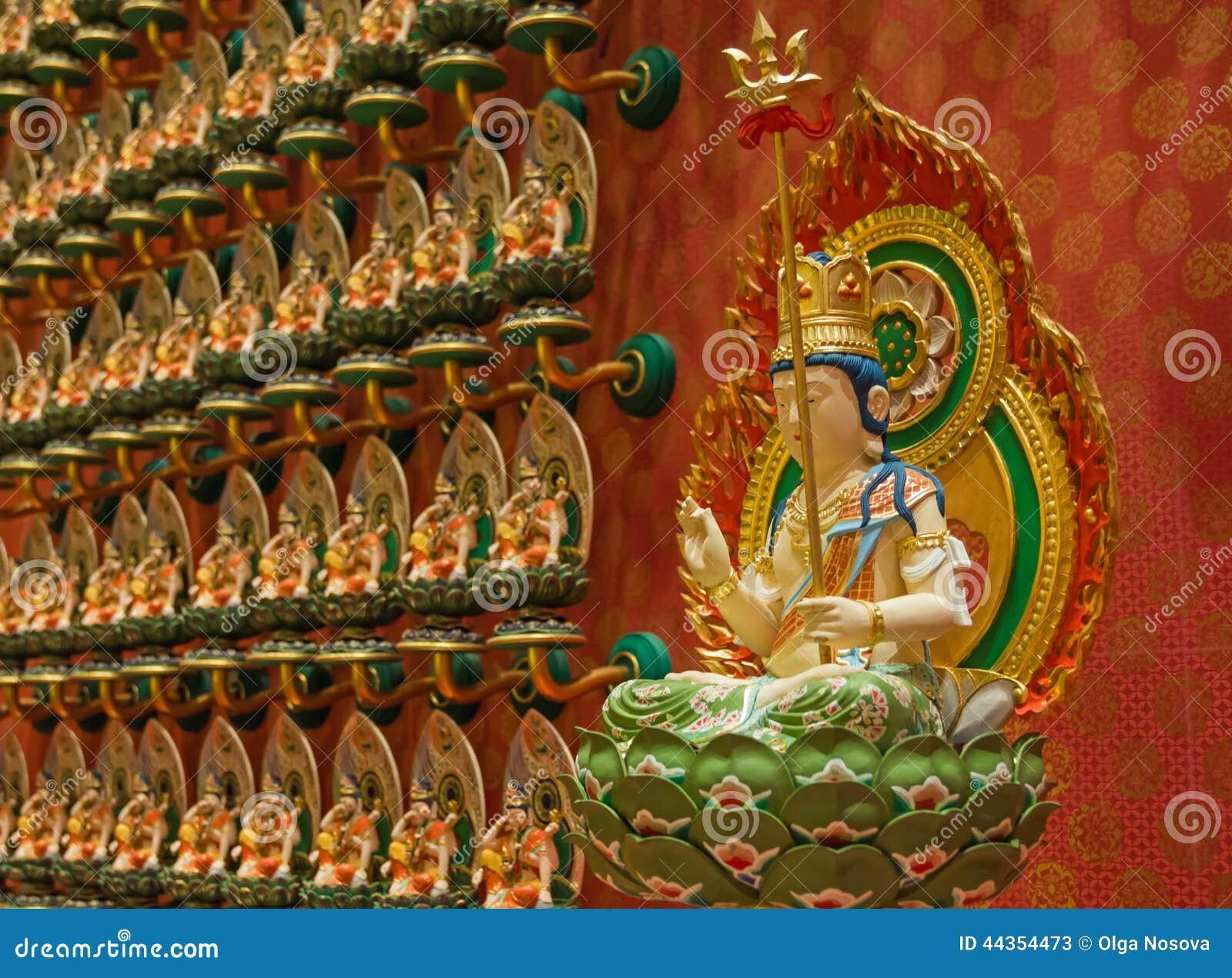 Buddha in statuetta del fiore di loto in tempio del dente di Buddha in Singa
