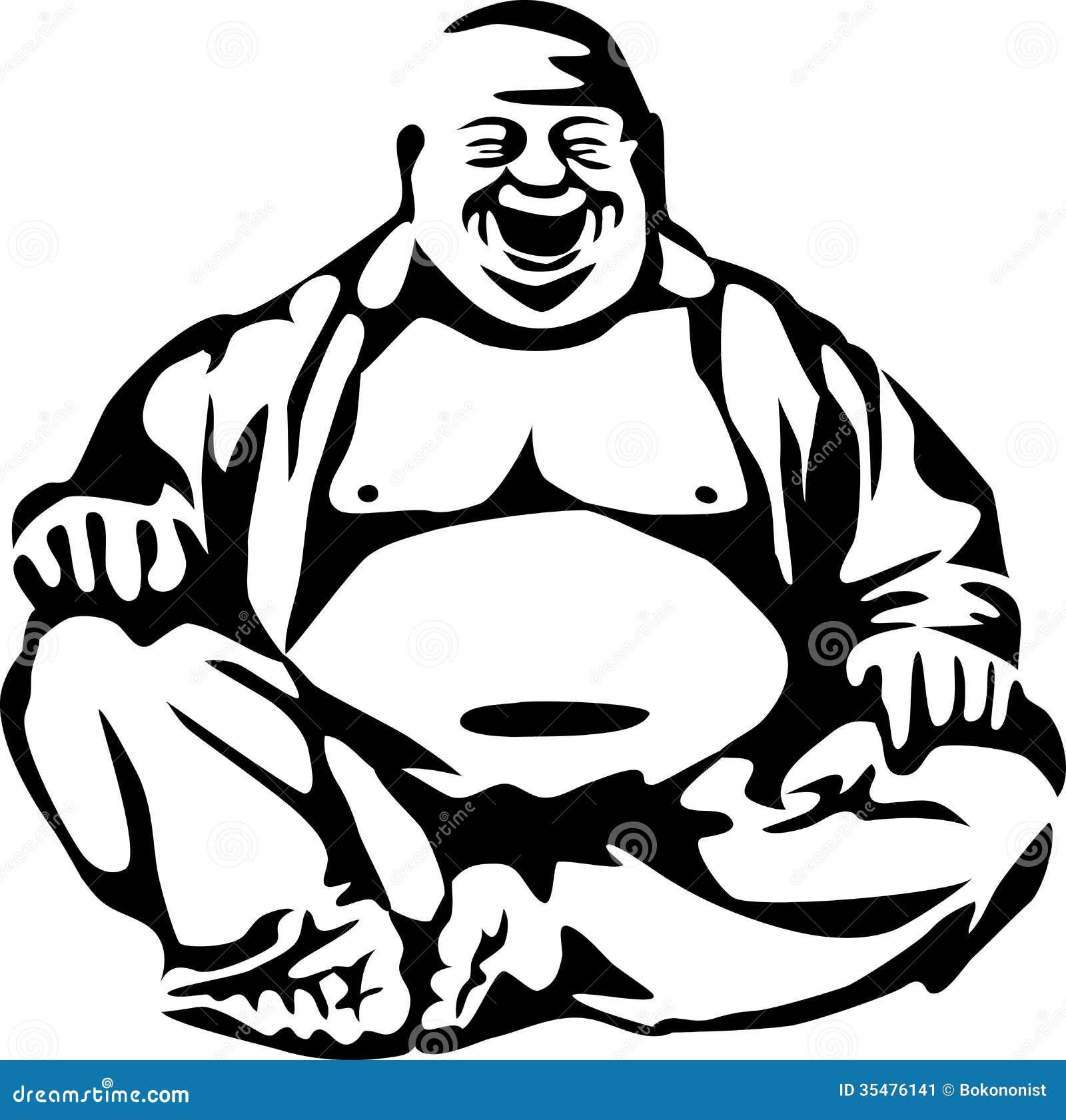 ¿A dónde vas, amigo, con tu secreto? los que se pelean se.... Buddha-stylized-laughing-black-white-illustration-35476141