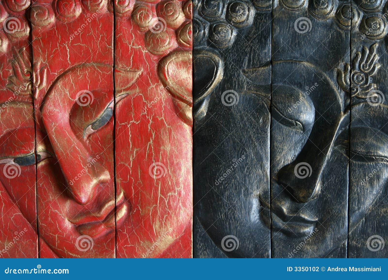 Buddha - vermelho e azul