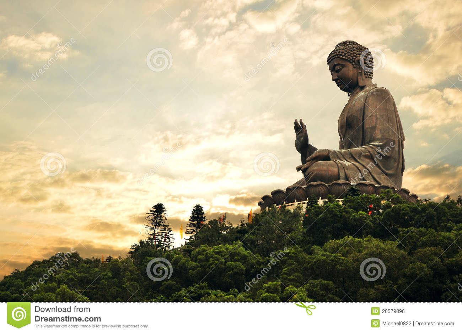 Buddha wieczór gigant złoty
