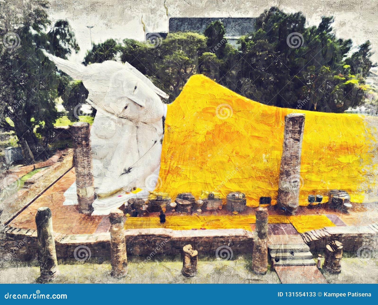 Buddha wizerunek w Wata Khun Intha Pramun świątyni przy przy Angthong prowincją, Dziejowy park, Tajlandia Cyfrowej sztuki impasta