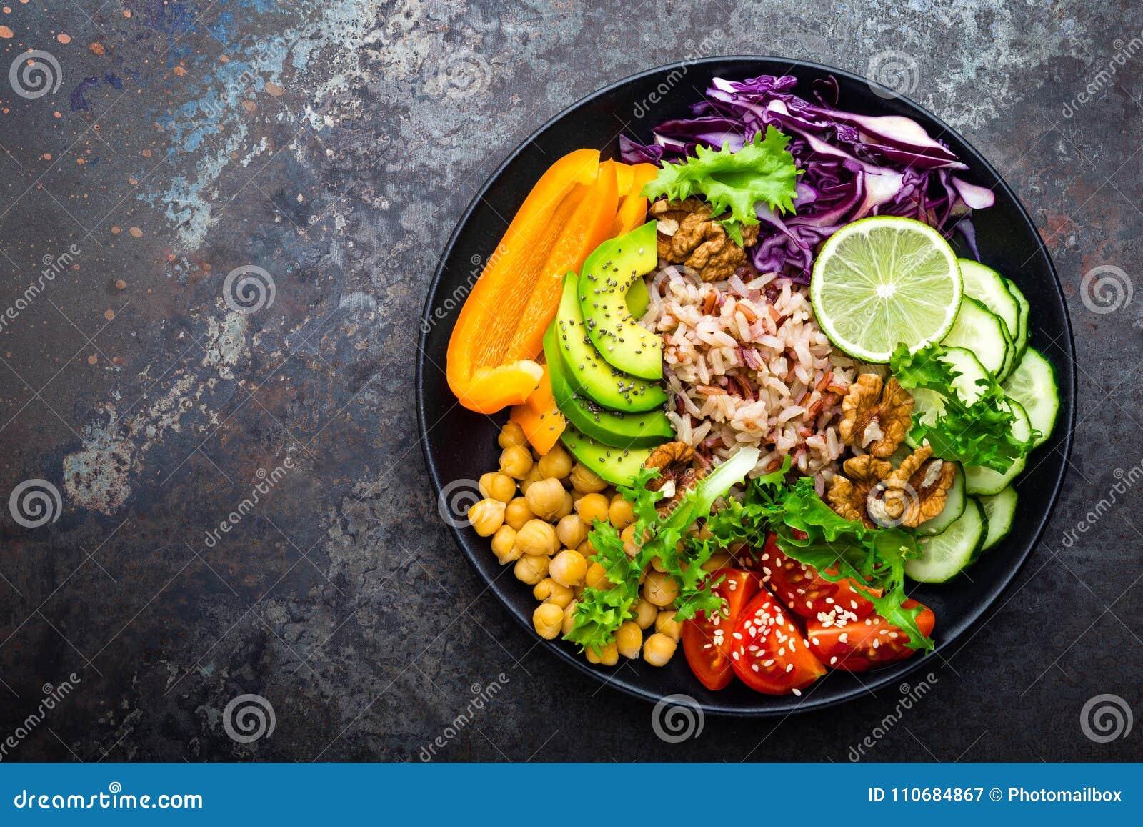 Buddhabunkematrätt med råriers, avokadot, peppar, tomaten, gurkan, röd kål, kikärten, ny grönsallatsallad och valnötter Healt
