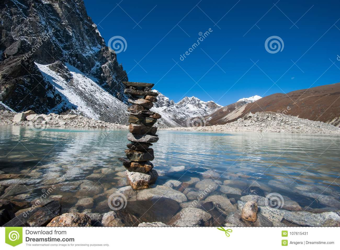 Buddhism: Stones and Sacred Lake near Gokyo