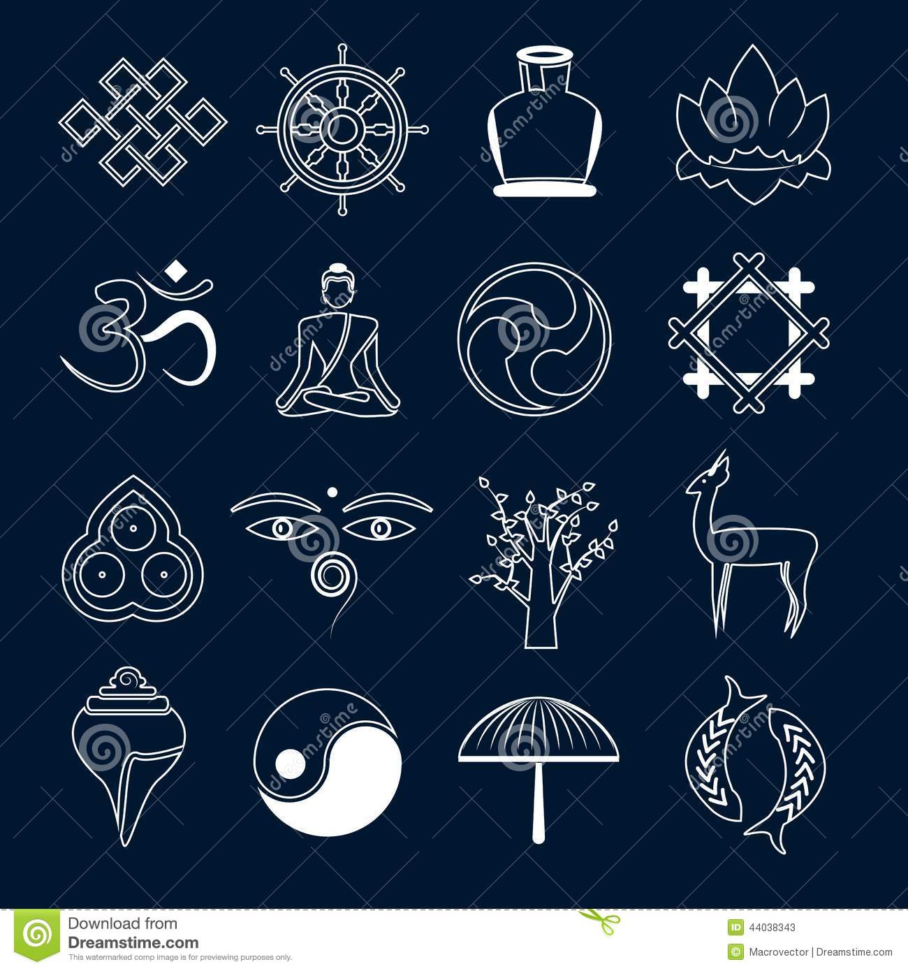 Buddhism Icons Set Outline Stock Vector Illustration Of Internet