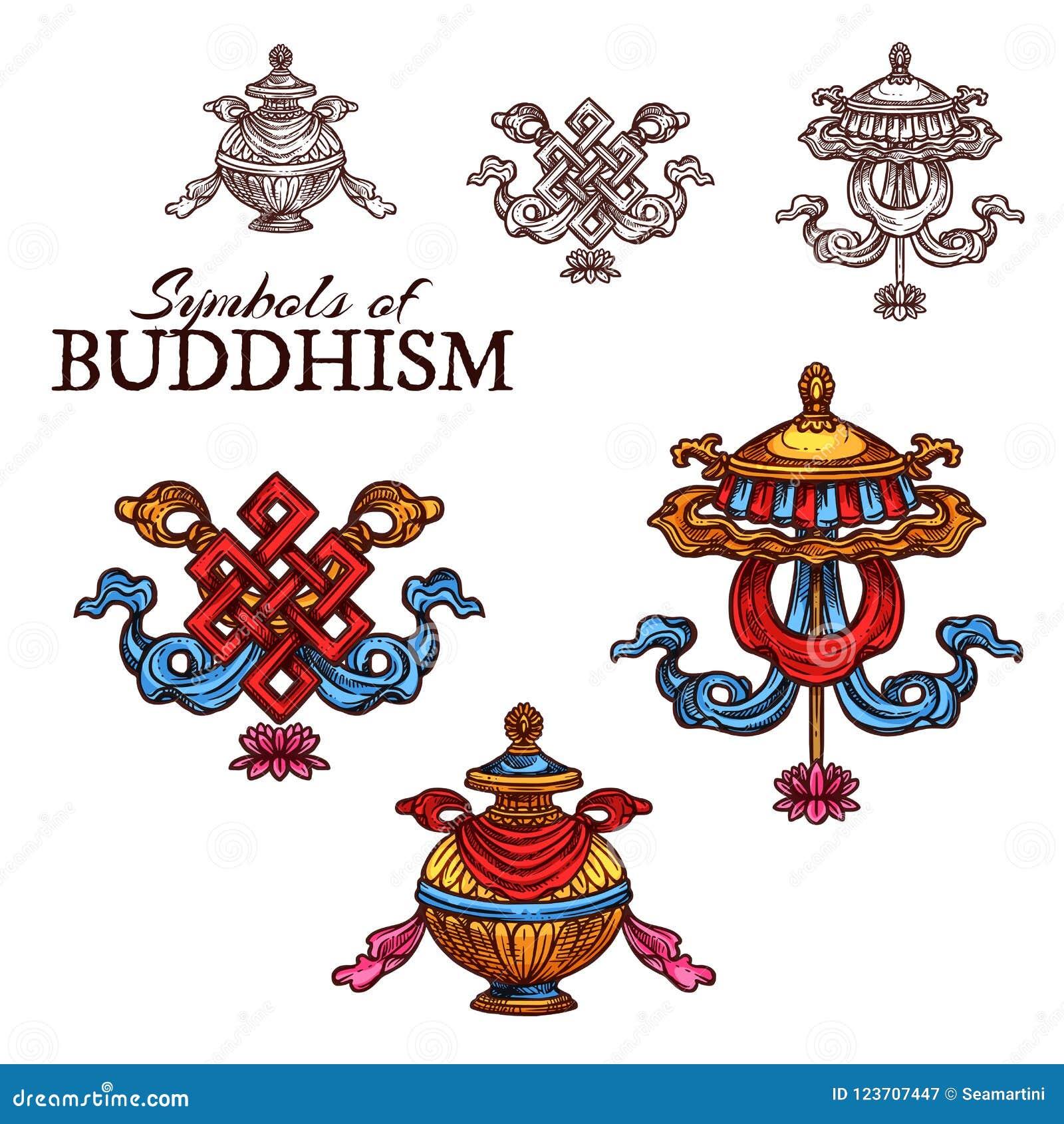 Buddhism Religion Auspicious Symbol Sketch Stock Vector