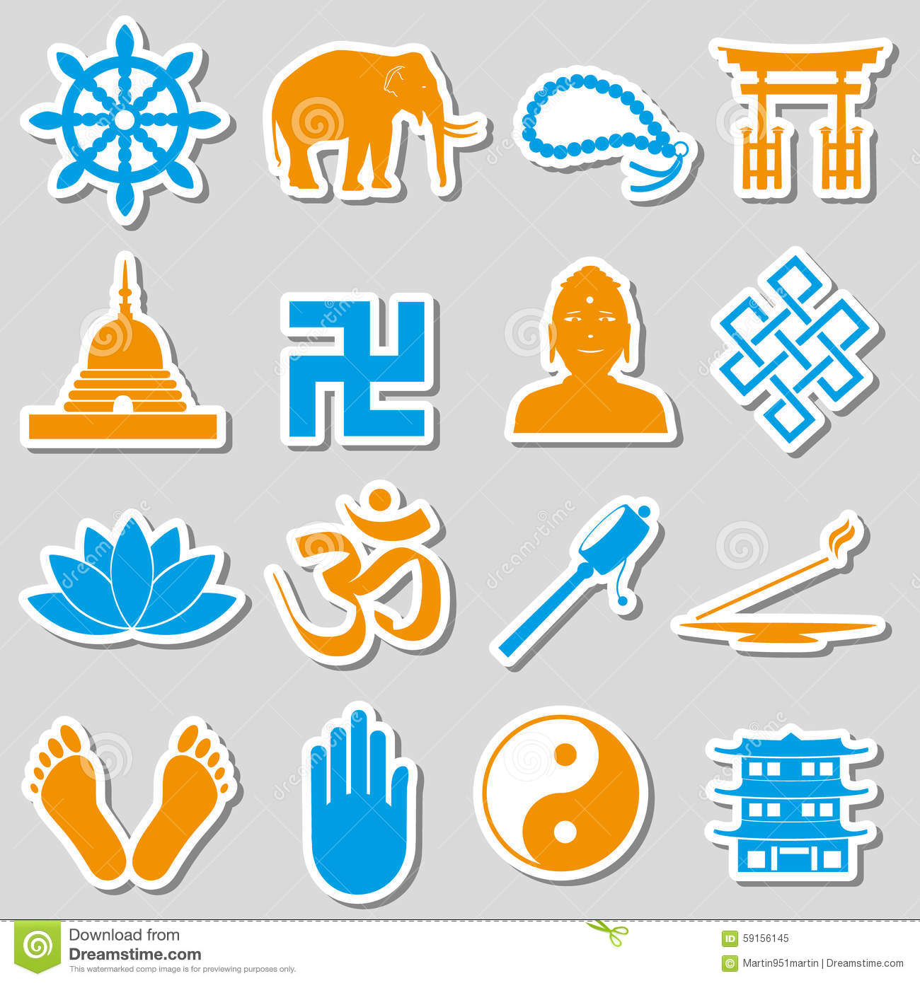 Buddhism religions symbols vector set of stickers eps10 stock vector