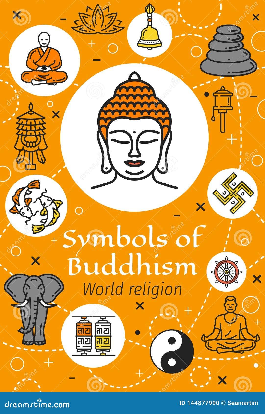 Buddha, Buddhism Religion And Yoga Symbols Stock Vector