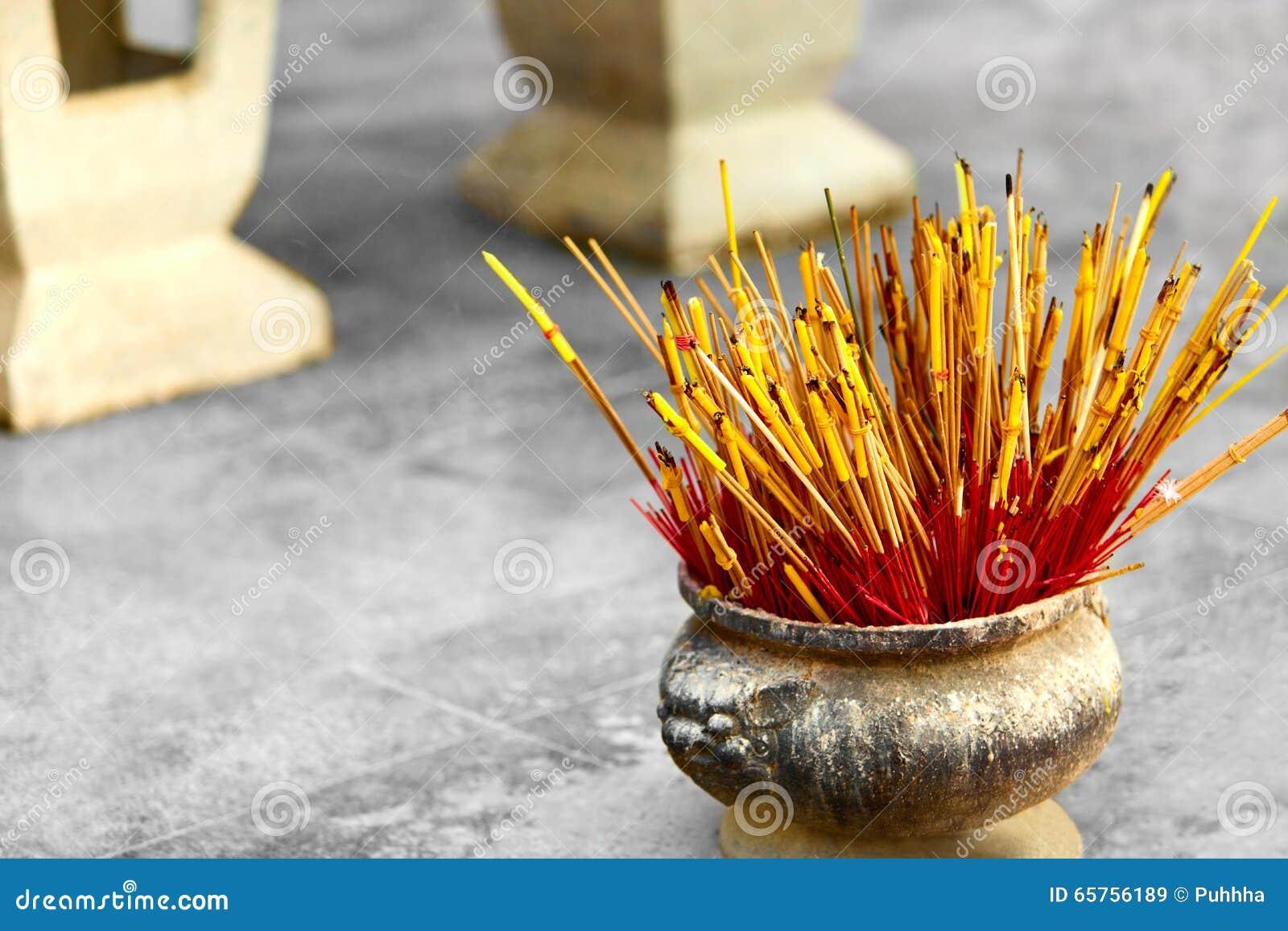 Buddhism Thailand Religion Incense Sticks In Urn In