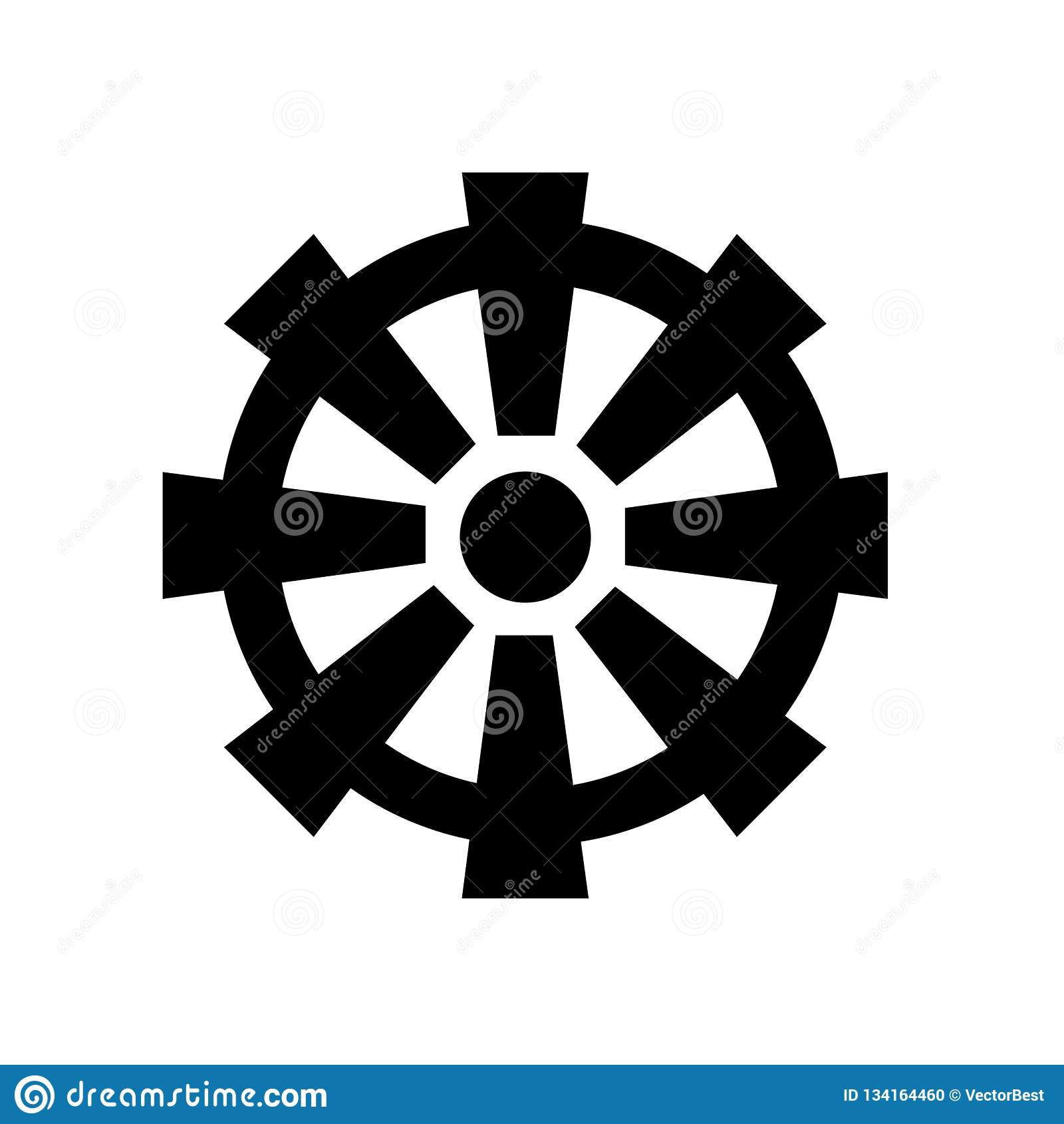 Buddhismus-Radikonenvektorzeichen und -symbol lokalisiert auf weißem Hintergrund, Buddhismus-Radlogokonzept