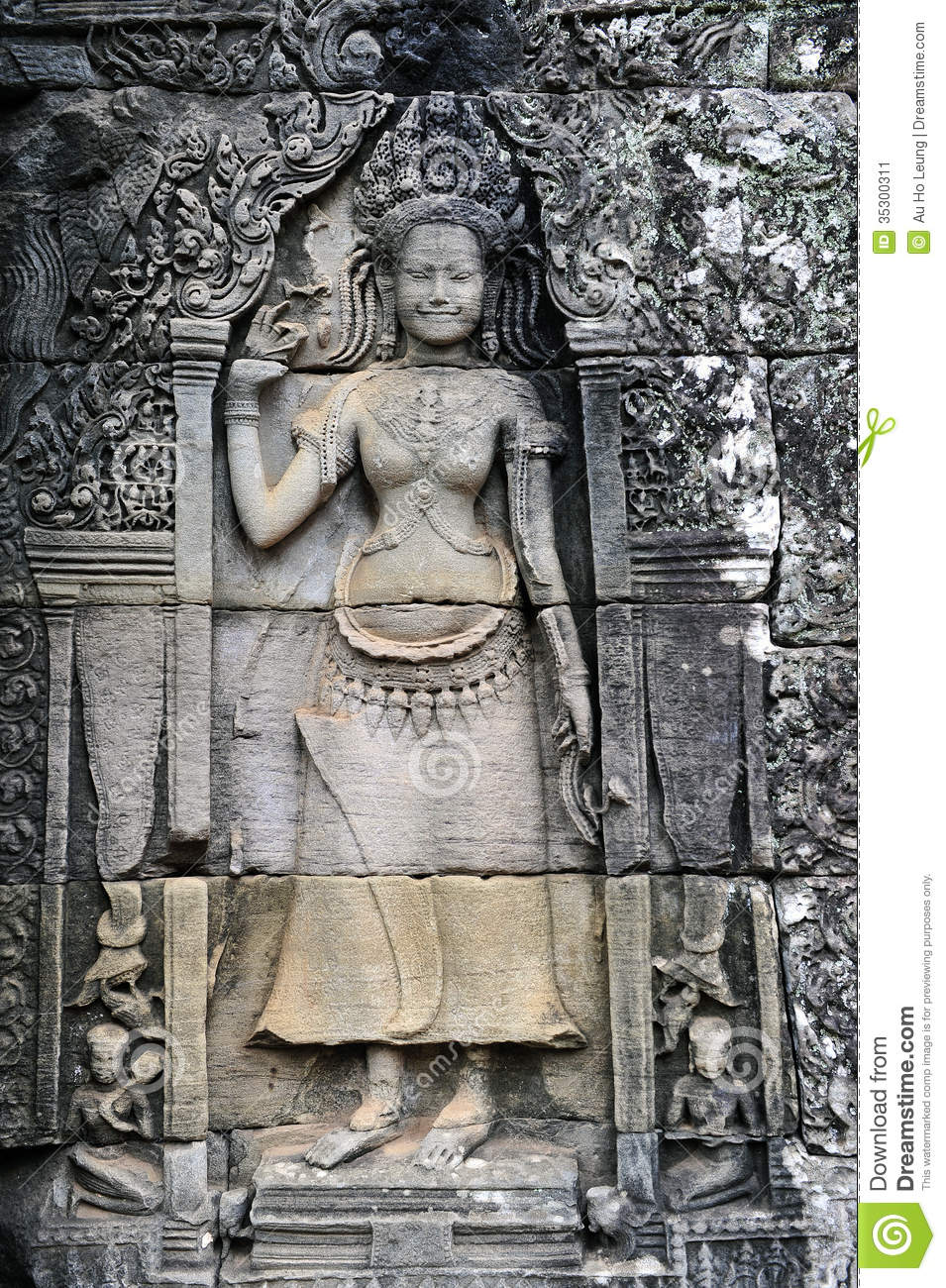Buddhist carving stock image