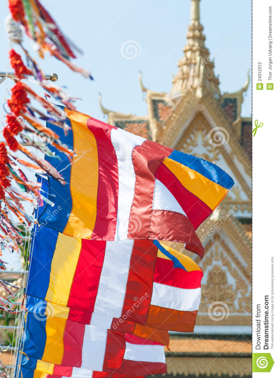 Buddhist Flags In Cambodia Stock Photos - Image: 24312313 Public Policy Symbol