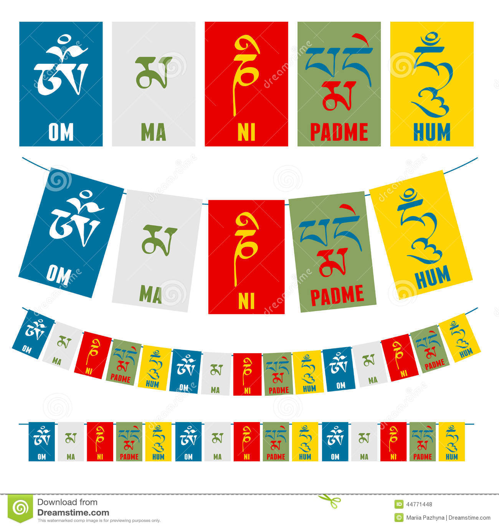 Sanskrit calligraphy of Buddhist Mantra Om Mani Padme Hum on ...