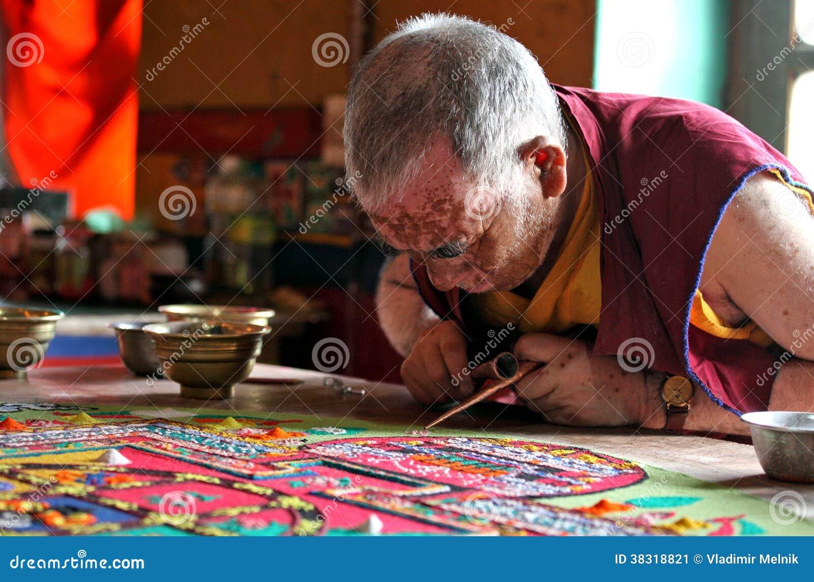 Buddhist monk making sand mandala editorial photo image of gompa buddhist monk making sand mandala biocorpaavc Images