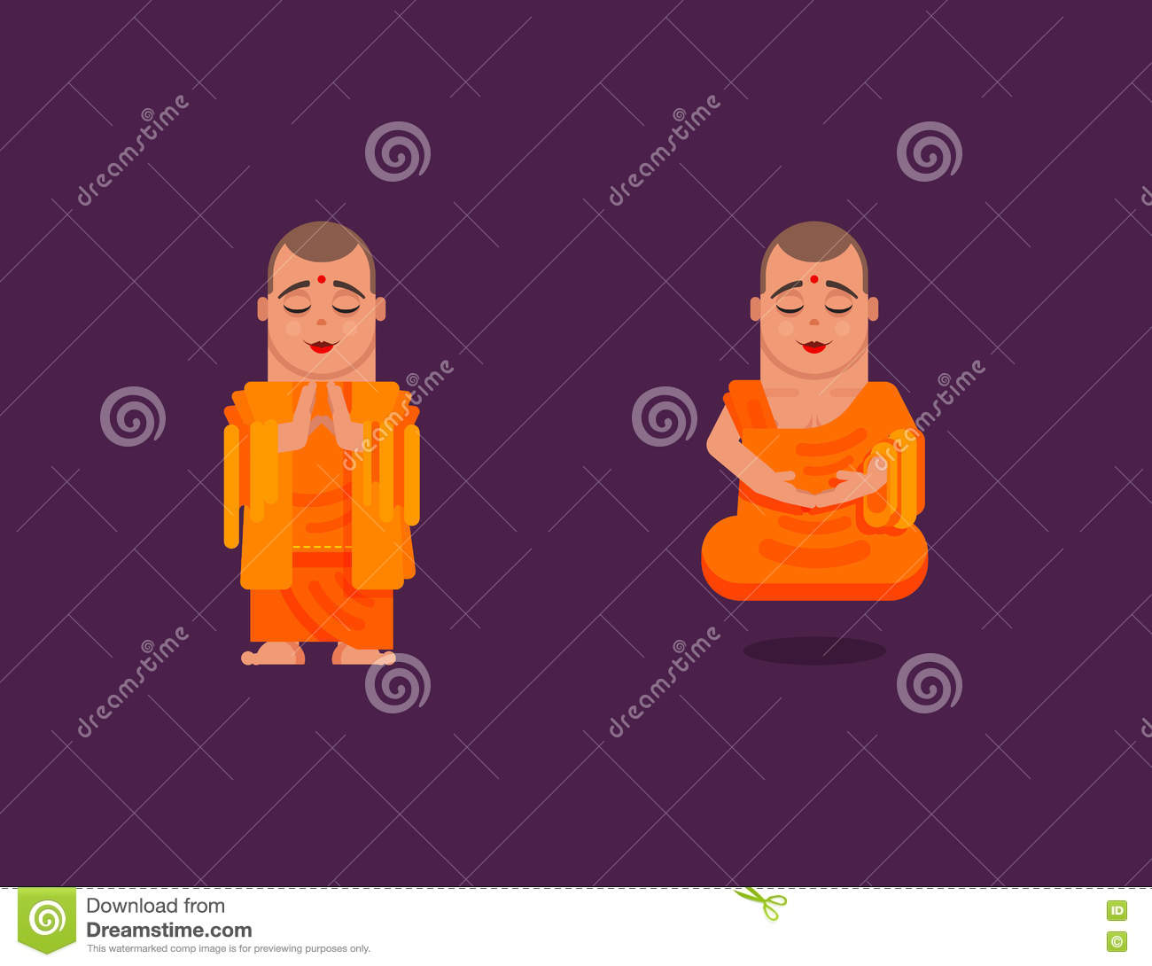 Buddhist Monk Is Meditating In A Flat Style