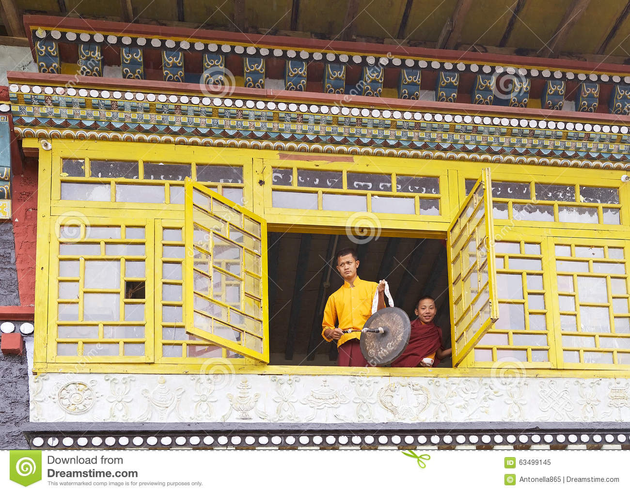 Buddhist Monk With Monk At The Sanghak Choeling Monastery, Sikkim
