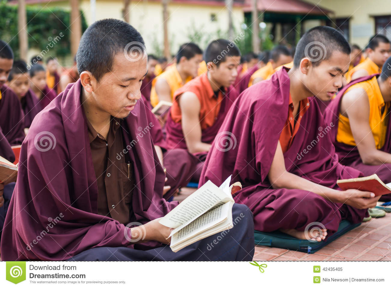 Kushalnagar India  City new picture : Kushalnagar, India JUNE 25th 2009 Buddhist Monks reading scripture ...