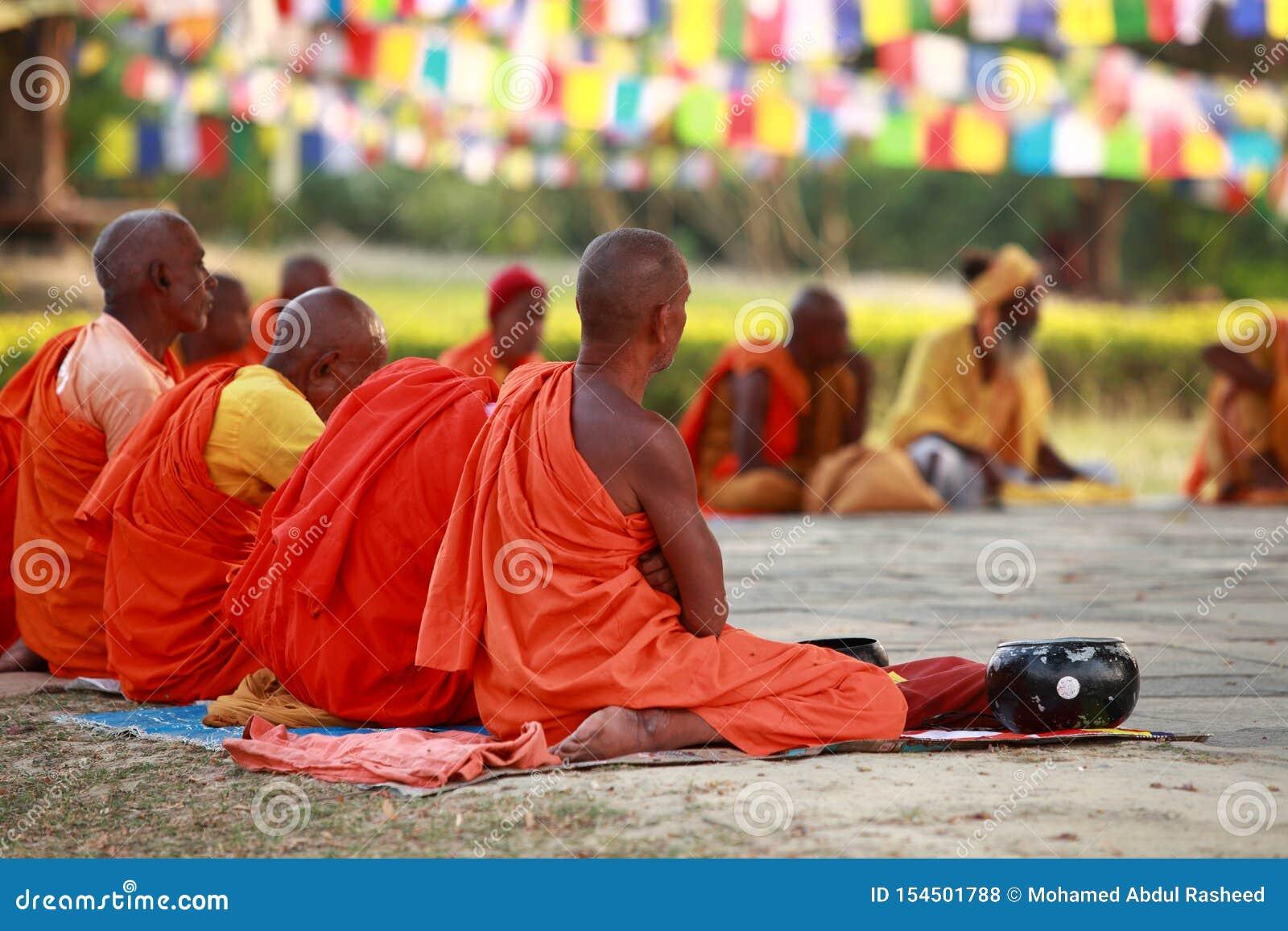 Buddhist Monks Meditation In Sitting Pose Editorial Stock ...