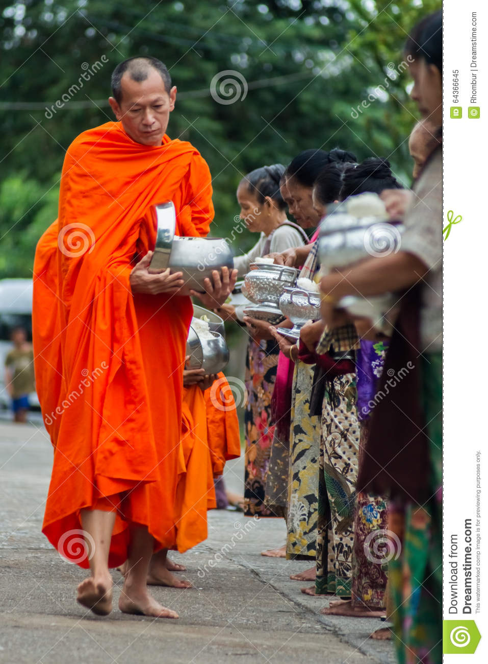 Buddhist monks at their morning almsround