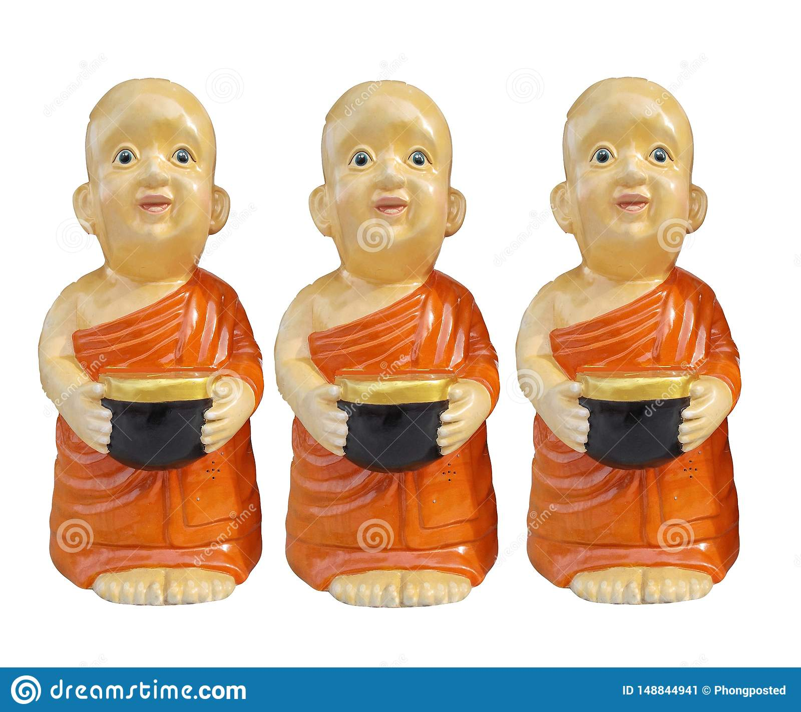 Buddhist novice resin characters holding alms bowl in hand isolated on white background