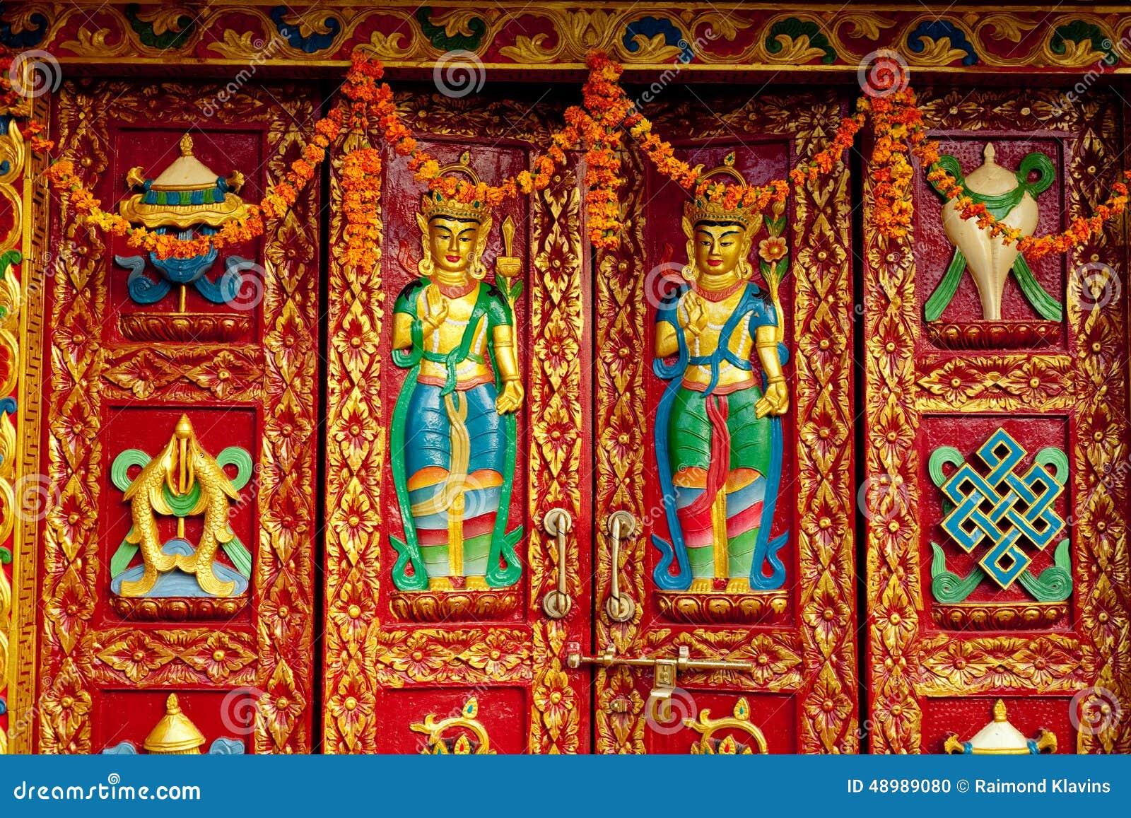 Buddhist ornament colorful door in Monastery near stupa Boudhanath