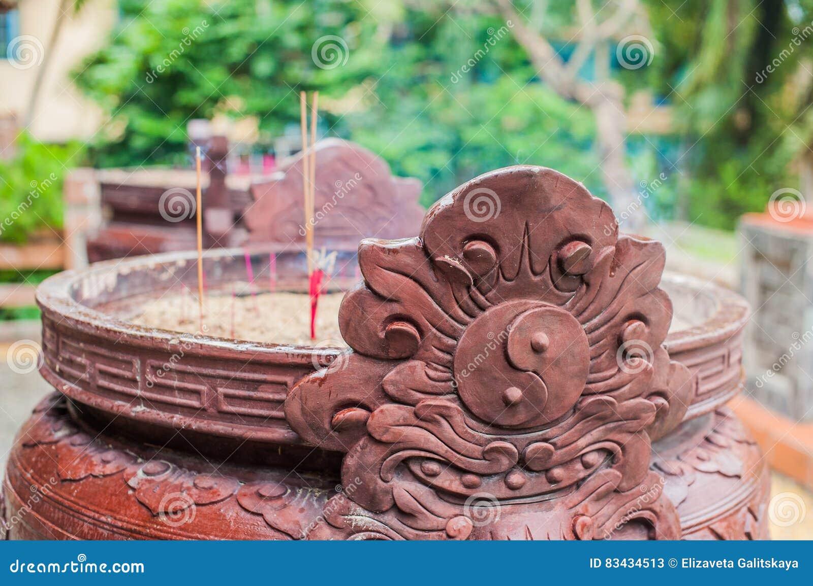 Buddhist Prayer Sticks Inside Temple Stock Image - Image of