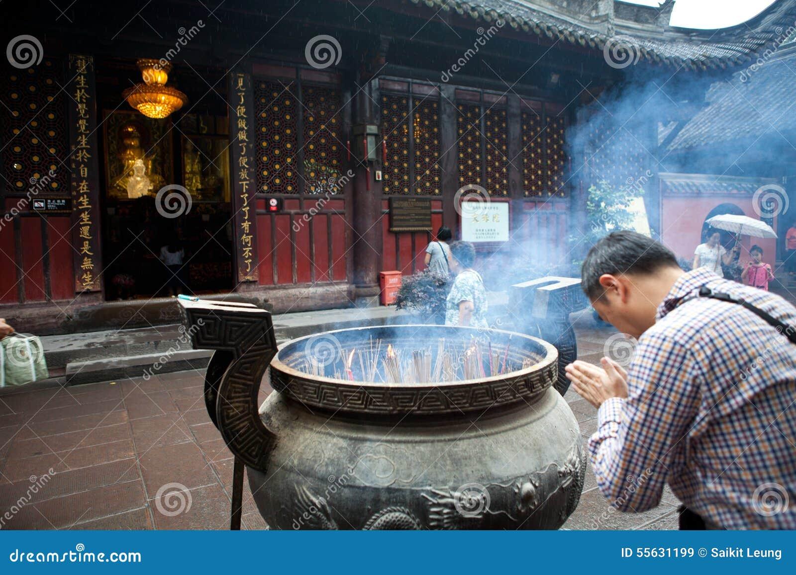 Buddhist Prayers Burning Incense Editorial Stock Image