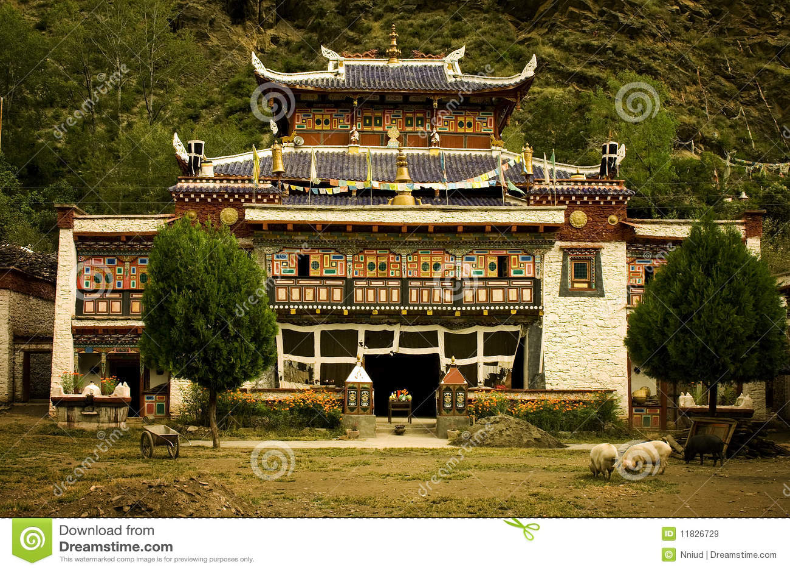 Buddhist temple in tibet, nature all around
