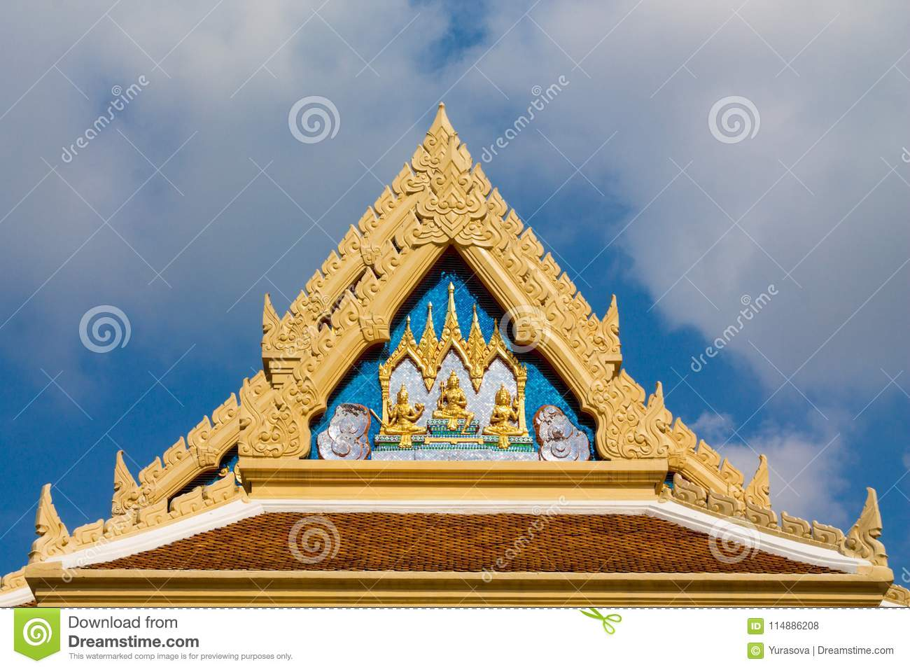 Buddhist Temple Wat Roof In Thailand, Thai Traditional Religious