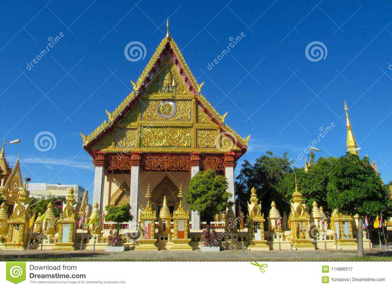 Buddhist Temple Wat In Thailand, Thai Traditional Religious