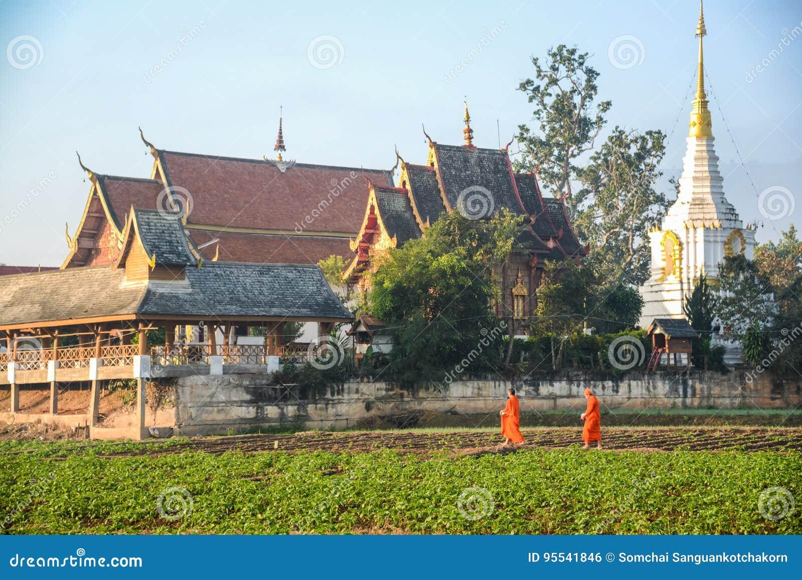 Buddhistische Mönche, die hinteren Tempel erhalten
