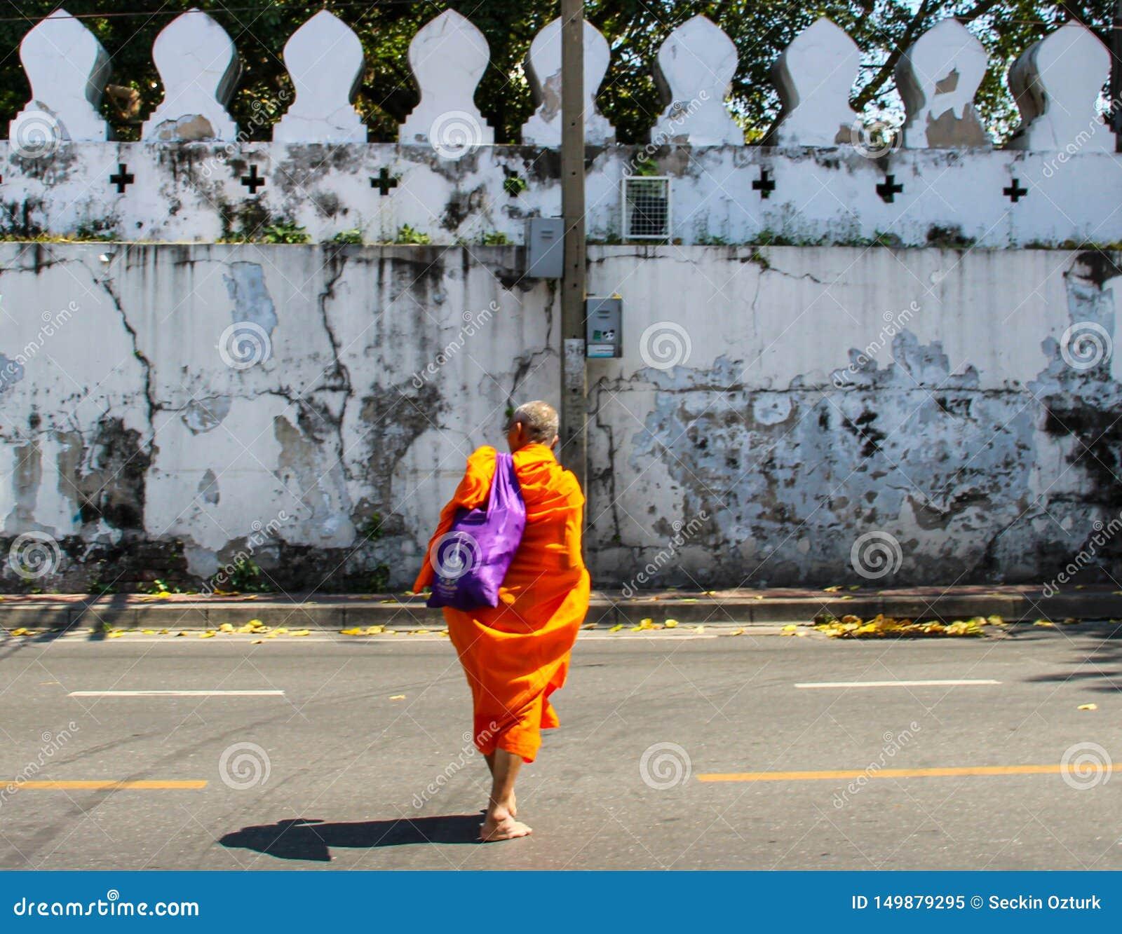 Buddist munk som går på gatan