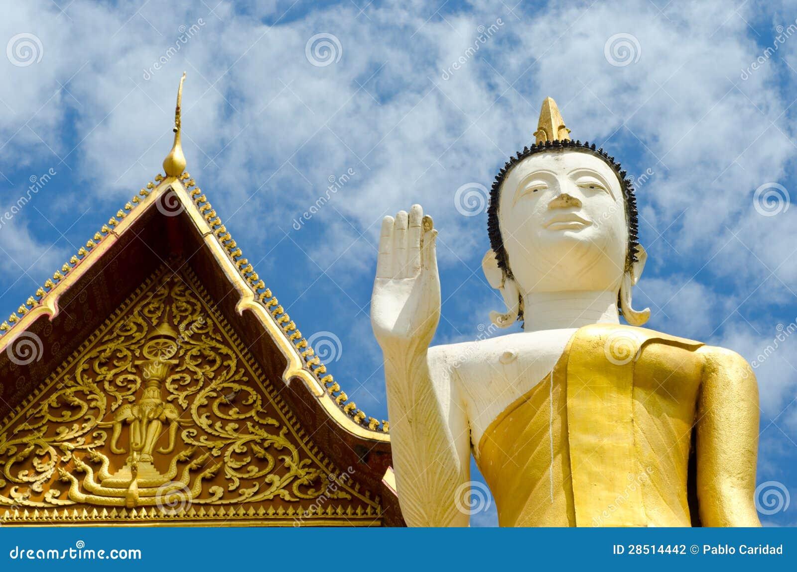 Buddistiskt tempel i Vientiane, Laos.