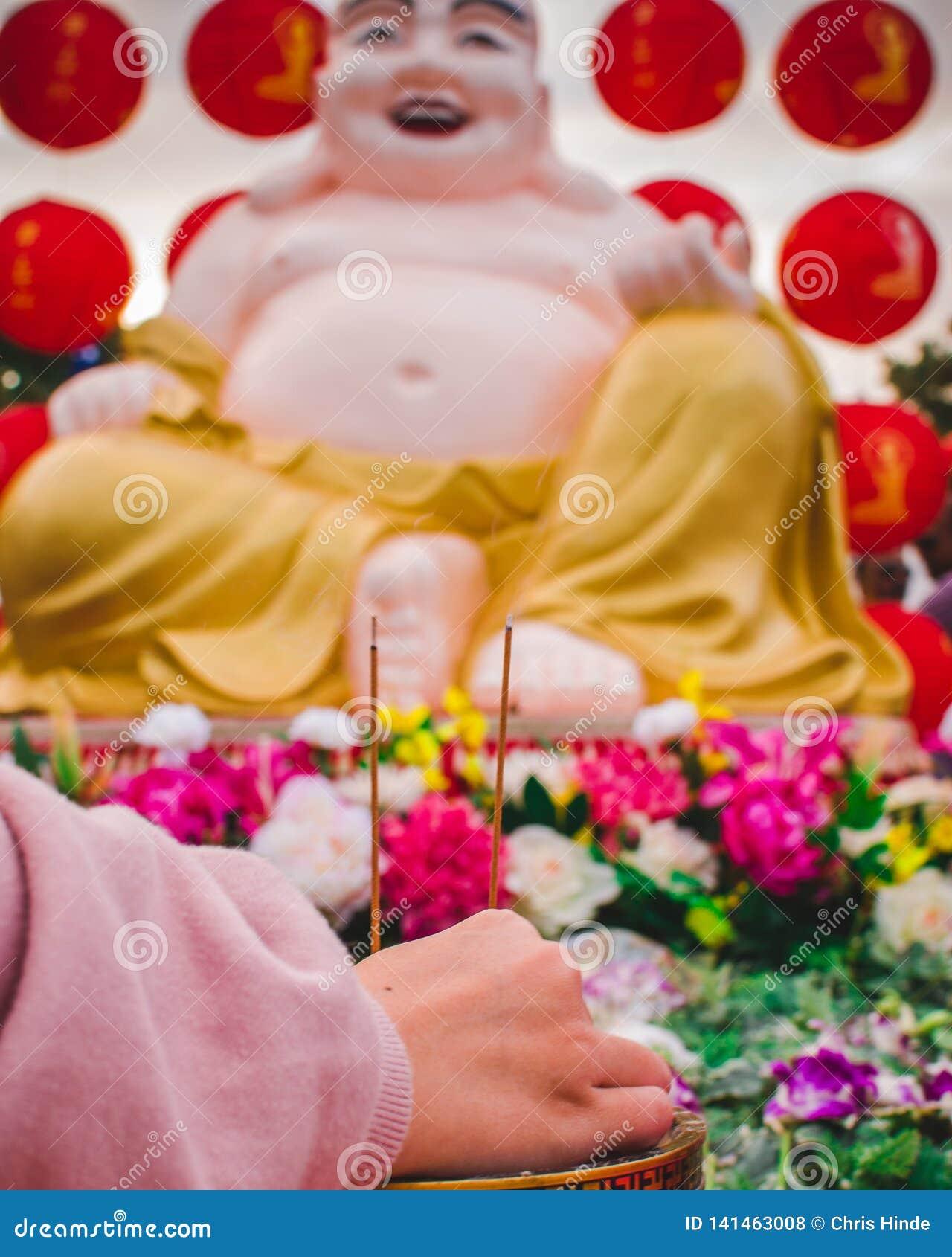Buddyjska modlitewna scena