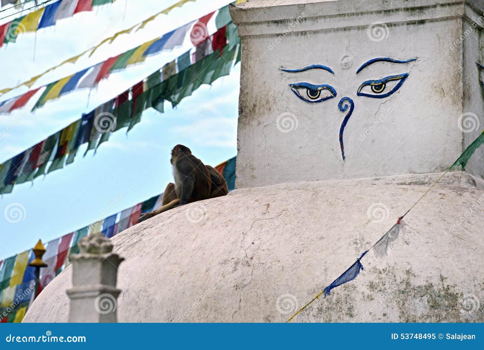 Buddyjska stupa Swayambhunath, Kathmandu zostawał nietkniętą póżniej