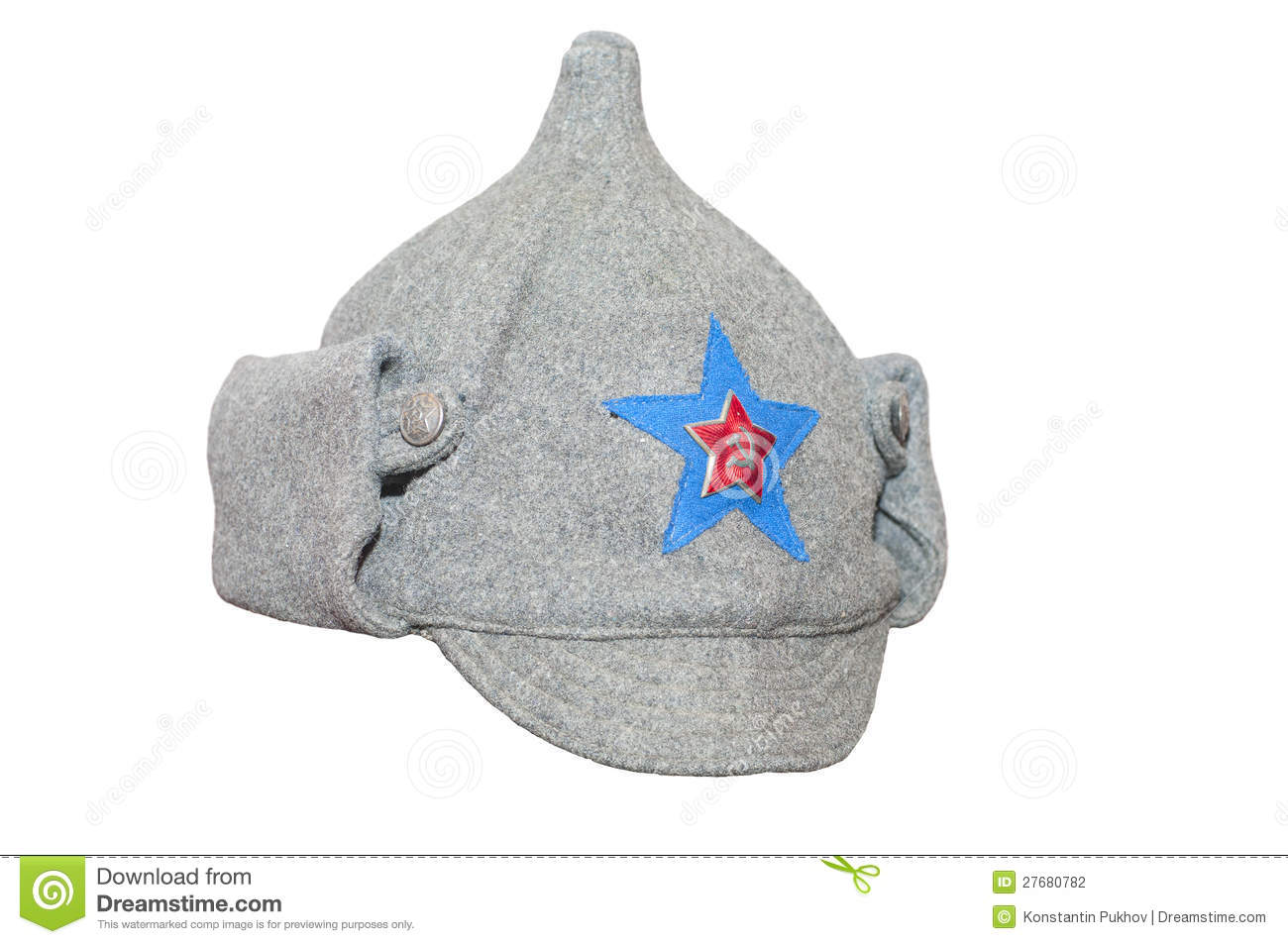 5529acbb91a2d Soviet army winter cap Budenovka  isolated on white background