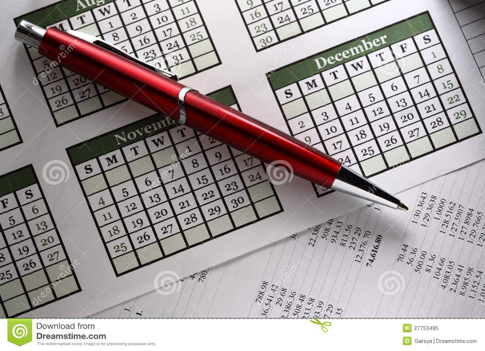 Budget, calendrier et stylo