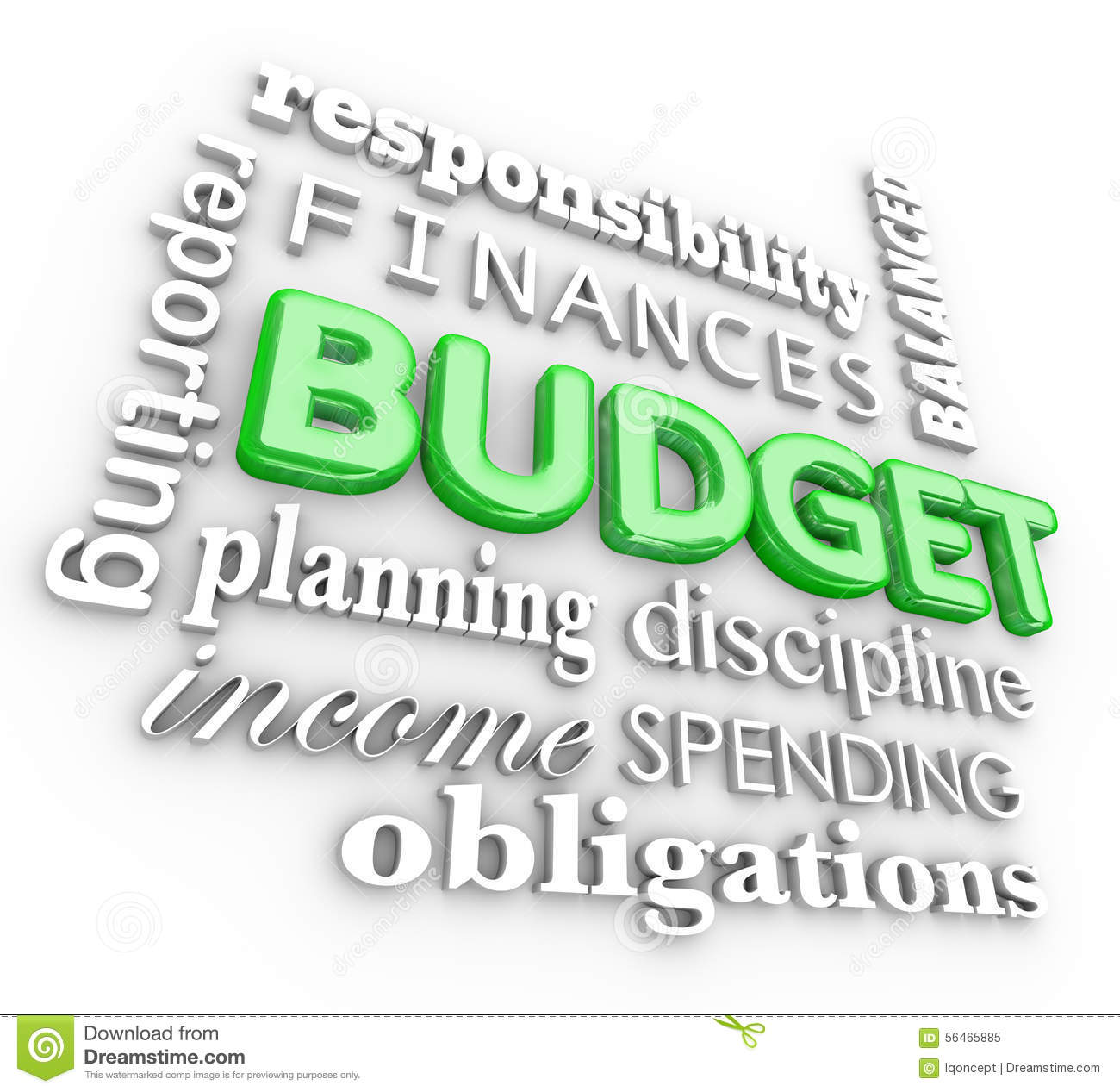 Church Finances: Budget 3d Word Collage Planning Finances Spending Saving