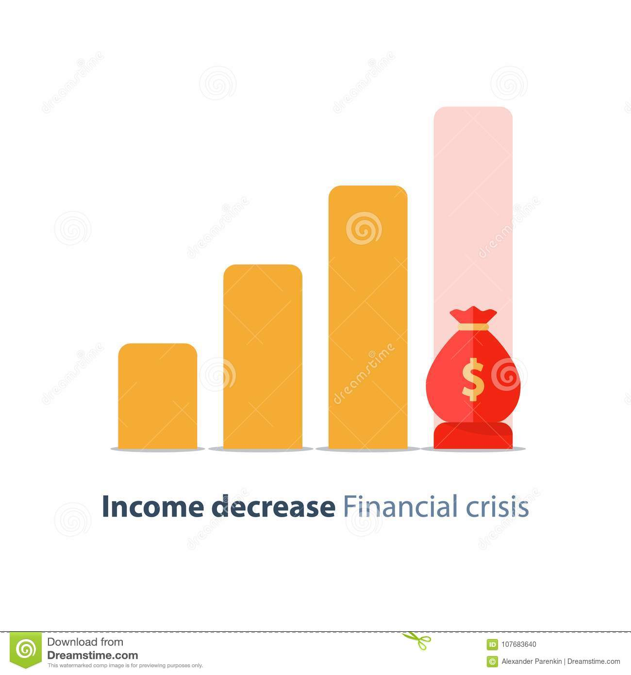 Budget deficit, income decrease, economy decline, financial crisis, investment risk