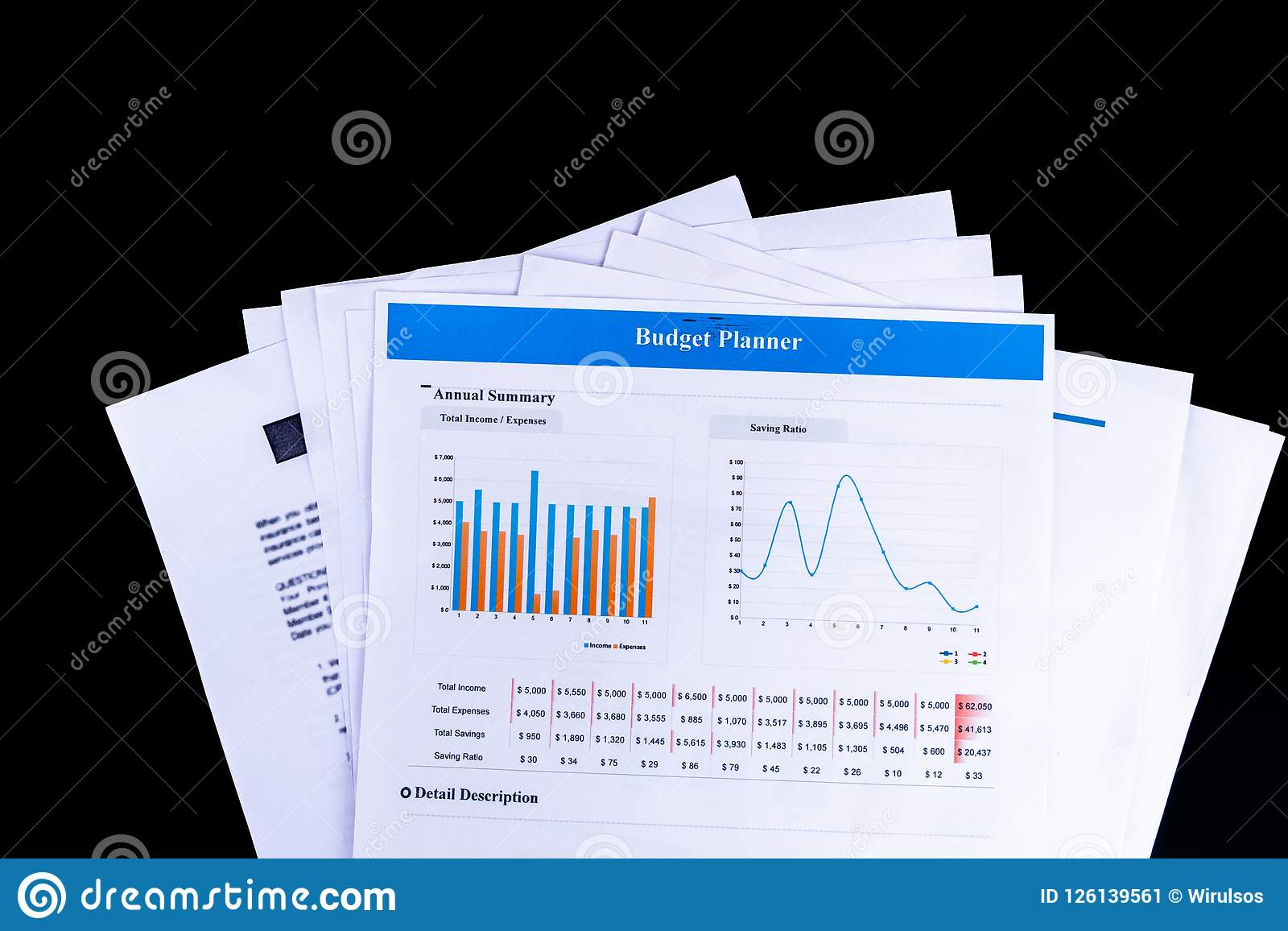 budget planner balance sheet documents paper with black backgrou